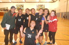 Papakura High's champion side (from left) coach Abraham Warren, Florence Toia, Reaghan Hura, Sharon Henare Niho Niho, captain Kisa Malakai, Rachel Harris, and No 1 supporter Apikara Edwards. Front centre is Teuila Aumua.