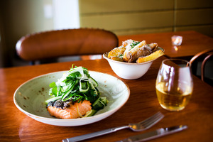 The salmon main and potato chips on the menu at Dilecta. Picture / Babiche Martens