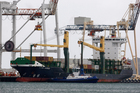 The notorious Vega Auriga docked at the Port of Tauranga yesterday. Photo / George Novak