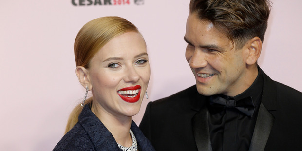 Actress Scarlett Johansson and her partner Romain Dauriac. Photo / AP