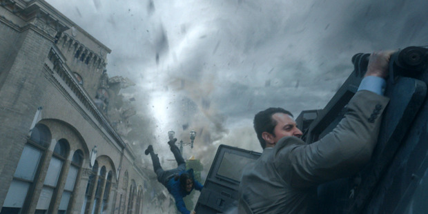 Richard Armitage, right, in a scene from 'Into The Storm'. Photo / AP