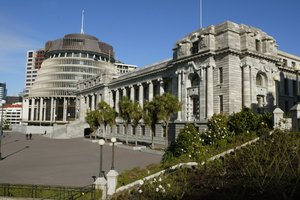 Parliament building and the Beehive, Wellington. Photo / Mark Mitchell