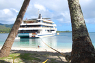 The Fiji Princess was tied to a coconut tree for an overnight stop. Photo / Supplied
