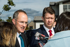 Labour Party housing spokeperson Phil Twyford (left) and Labour Party leader David Cunliffe talk to media. Photo / APN