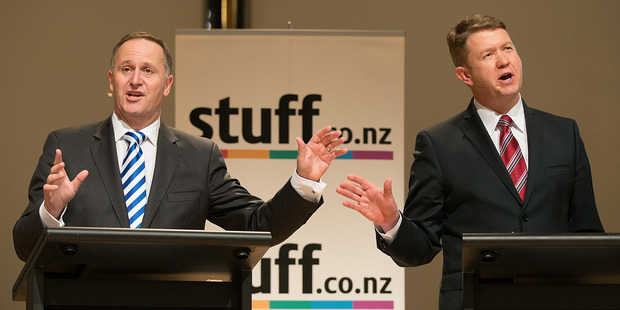 Loading David Cunliffe and John Key put their respective points across during the Press leaders' debate in Christchurch last night. Pictures / Martin Hunter