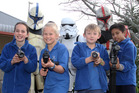 Storm trooper and ARC Troopers Craig Haskell, Stu Brown and Pera Tuapawa with (from left) Winslet Donovan-Grammer (11), Emma Averill (10), Marc Spanswick (8) and Siddhartha Gurung (11).