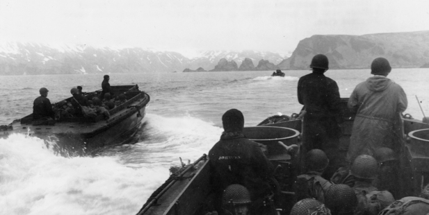 US troops approach Japanese-held Attu Island in the Aleutians in 1943. America feared an invasion of Alaska by Russian troops during the Cold War. Picture / AP
