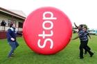 Taniwha rugby players Jordan Olsen, Filipo Nakosi and Vili Tahitua help promote Stoptober. Photo / Michael Cunningham