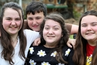 SIBLING SUPPORT: Erin Woodhouse, centre, with Hana, Rory and Leah