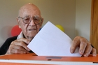 102-year-old Jim Owen kicks off the 2014 election, in the Tauranga electorate yesterday. Photo / George Novak