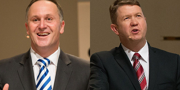 Prime Minister John Key took on Labour leader David Cunliffe in the second leader's debate of the 2014 general election campaign in Christchurch tonight. Photo / Martin Hunter