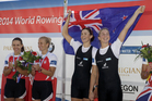 Fiona Bourke and Zoe Stevenson of New Zealand, Women's Double Sculls celebrate after winning the final at the World Rowing Championships in Amsterdam. Photo / AP