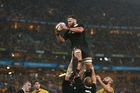 Kieran Read leaps high as the rain pelts down during the first Bledisloe Cup match in Sydney last month, which ended in a draw. Picture / Getty Images