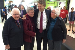Labour leader David Cunliffe campaigning at Hornby Mall in Christchurch. Photo / Isaac Davison