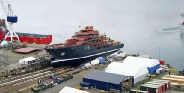Loading The new yacht was launched in Norway over the weekend. Image / YouTube
