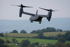 A vertical takeoff and landing Osprey V-22 aircraft is put through its paces on the sidelines of the  Nato summit in Wales. Photo / AP
