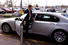 Labour leader David Cunliffe getting out of a government car at Lynn Mall. Photo / Dean Purcell.