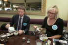 Conservative Party leader Colin Craig and the party's candidate for Epsom, Christine Rankin, take a tea break while on the election campaign trail in Newmarket. Picture / Brett Phibbs