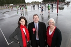 Tauranga candidate Rachel Jones, Labour MP Grant Robertson and Bay of Plenty candidate Clare Wilson canvassed crowds at the Aims Games in Tauranga yesterday. Photo / John Borren
