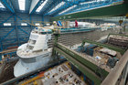 Royal Caribbean's newest ship, Quantum of the Seas, being built at the Meyer Werft shipyard in Papenburg, Germany.