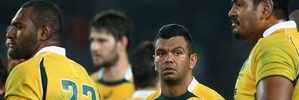 Kurtley Beale of the Wallabies looks dejected after his side's heavy defeat to the All Blacks at Eden Park last month. Photo / Getty Images