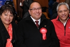 THIRD TIME LUCKY: Adrian Rurawhe is flanked by the two previous Labour candidates for Te Tai Hauauru, Soraya Peke-Mason (2011) and Errol Meihana (2005 and 2008).