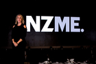 Chief executive Jane Hastings with the new brand name NZME. during the launch at Shed 10 today. Photo / Dean Purcell.
