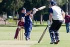 Hutt Districts batsman Adam Williams makes work easy for Taradale wicketkeeper Luke Kenworthy.