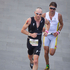 Bevan Docherty ahead of Terenzo Bozzone in the run section of the Ironman 70.3 Auckland. Photo / Richard Robinson