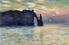 Claude Monet's The Cliff, Etretat: Sunset is the only one in the series that includes the disc of the sun.
