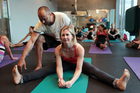 Rachel Grunwell enjoys a Prana exercise class  with instructor Vincent Bolletta.Photo / Doug Sherring