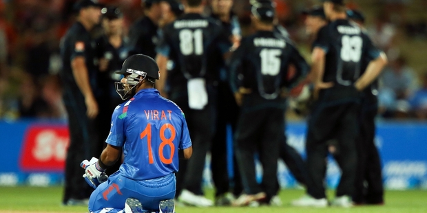 Virat Kohli of India looks on after the dismissal of MS Dhoni during the first one-day international match between New Zealand and India. Photo / Getty Images