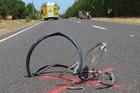 Crash victim Bill bayliss' mangled bike. Photo / APN