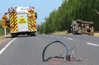 The scene on Kerikeri's Kapiro Rd after teacher Bill Bayliss died when his cycle and a 4WD collided. Photo/Peter de Graaf
