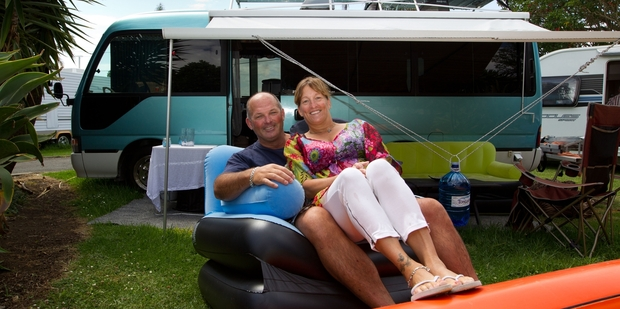 Melissa and David Middleton have been making the most of their stay at Takapuna. Photo / Richard Robinson