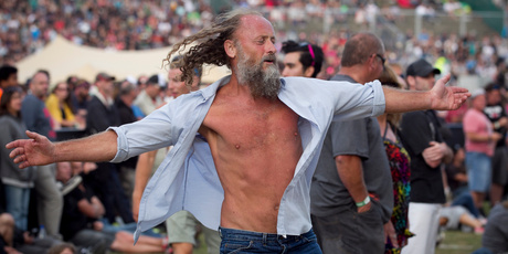 A man dances at the Big Day Out. Photo / Natalie Slade