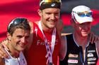 Terenzo Bozzone, Jan Frodeno of Germany and Richie Cunningham from Australia, celebrate their placings in the Ironman 70.3. Photo / Richard Robinson