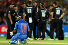 Virat Kohli of India looks on after the dismissal MS Dhoni during the first One Day International match between New Zealand and India. Photo / Getty Images.