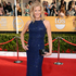 Anna Gunn in Monique Lhuillier and carrying customised Breaking Bad clutch box by Edie Parker. Photo / AP