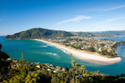 The view across to Pauanui from the summit of Paku Hill in Tairua. Photo / Getty Images