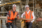 Fletcher building CEO Mark Adamson (right) with Christchurch-based apprentice Luke Thomas. Photo / Ted Baghurst