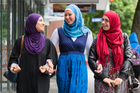 Sahar Farhat (left), Alena Katkova and Rawand Shiblaq feel they have been shown respect for wearing the hijab. Photo / Greg Bowker