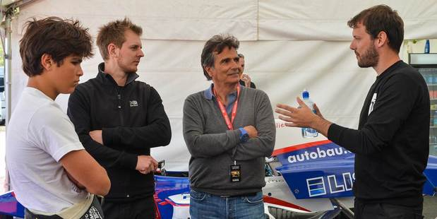 Jonathan Moury (right), co-owner of M2 Competition with three-time World Formula One champion Nelson Piquet and his son, Pedro (left), who's competing in the Kiwi TRS series, and Pedro's mechanic, Stuart Reid from Wales. Picture / Bruce Jenkins