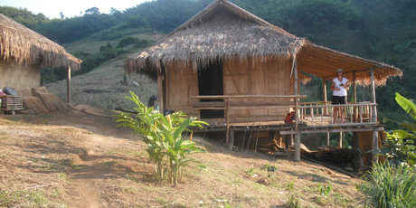 The Laxon family's luxury hut during a three-day trek in northern Thailand. Photo / Andrew Laxon