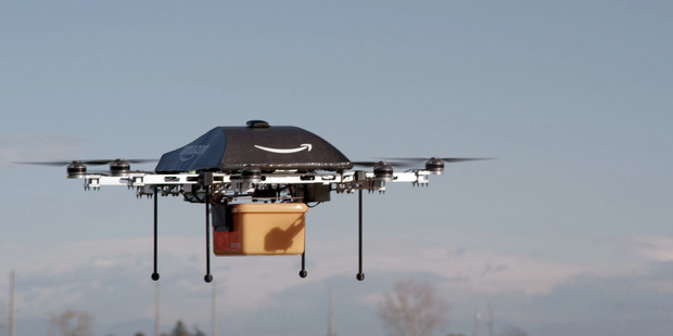An image showing the Prime Air Unmanned Aircraft being worked on in Amazon's research and development labs. Photo / AP