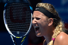 Victoria Azarenka of Belarus reacts after losing a point during her quarterfinal against Agnieszka Radwanska of Poland. Photo / AP