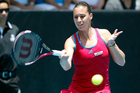 Flavia Pennetta in action. Photo / Dean Purcell