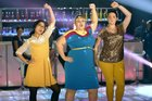 The cast of Rebel Wilson's new comedy series 'Super Fun Night'.