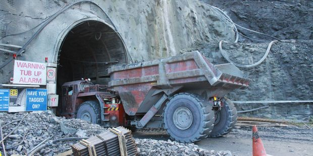 Truck heads underground at OceanaGold Heritage and Art Park at Macraes Flat, East Otago.