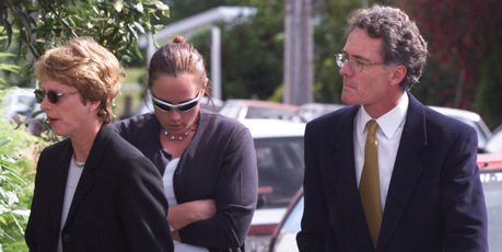 The Hope family (from left) Jan, Amelia and Gerald Hope arrive at the Blenheim District Court. Photo / NZ Herald